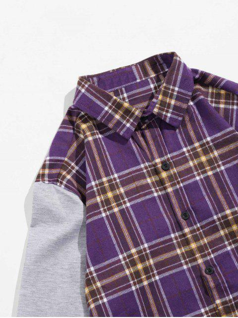 outfits Plaid Spliced Design Long Sleeves Shirt - PURPLE IRIS S Mobile