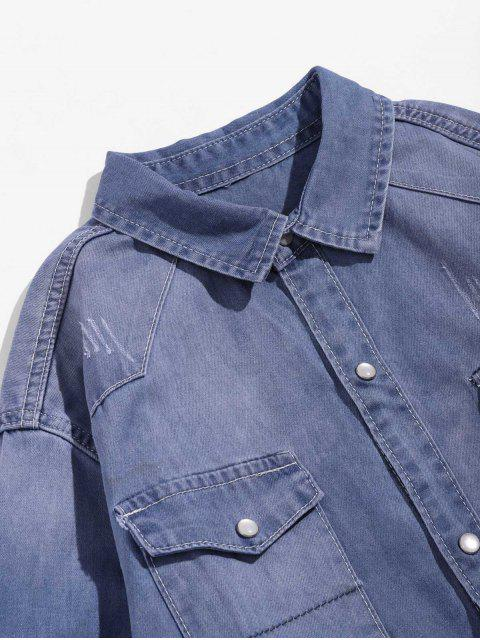 online Solid Chest Pocket Long Sleeve Button Denim Shirt - LIGHT BLUE M Mobile