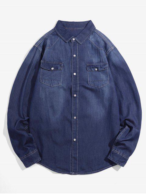 new Solid Chest Pocket Long Sleeve Button Denim Shirt - DEEP BLUE S Mobile