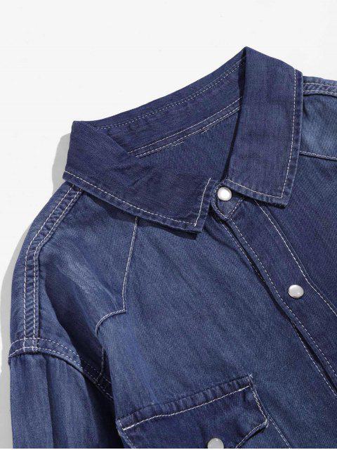 shops Solid Chest Pocket Long Sleeve Button Denim Shirt - DEEP BLUE XS Mobile