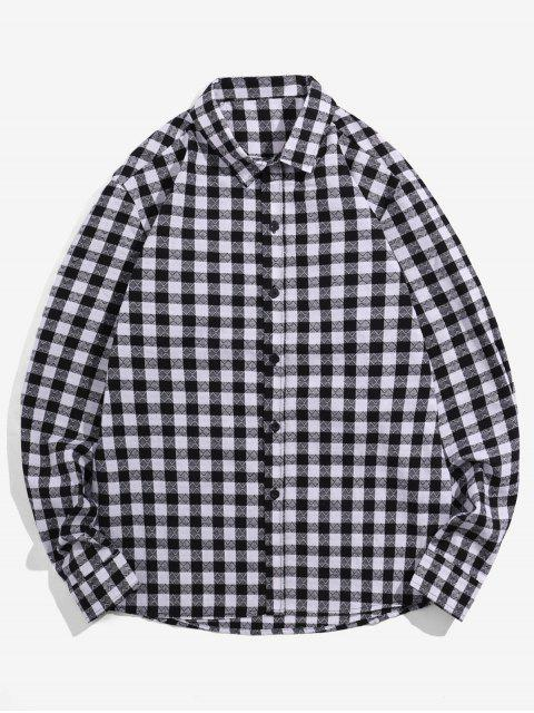 best Plaid Printed Button Up Casual Shirt - BLACK XL Mobile
