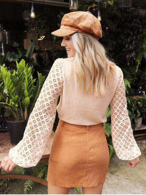 latest ZAFUL x Yasmine Bateman Openwork Sleeves Solid Round Neck Tee - LIGHT KHAKI M Mobile