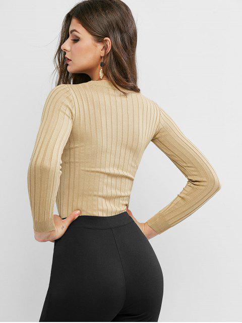 hot Basic Ribbed Sweater - TAN ONE SIZE Mobile