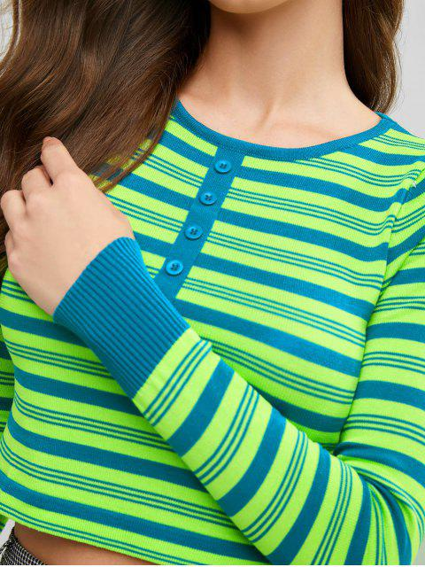 best Crew Neck Half Buttoned Stripes Sweater - MULTI-A ONE SIZE Mobile