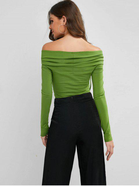 women's Long Sleeve Cinched Off Shoulder Tee - YELLOW GREEN L Mobile