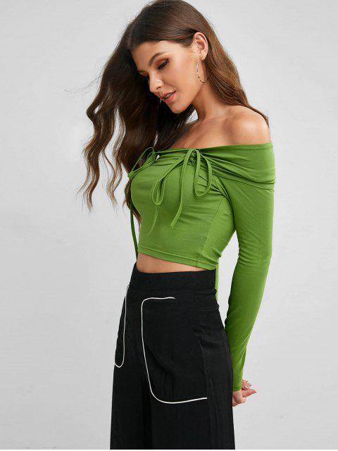 Camiseta de manga larga ceñida hombro Off - Amarillo Verde M Mobile