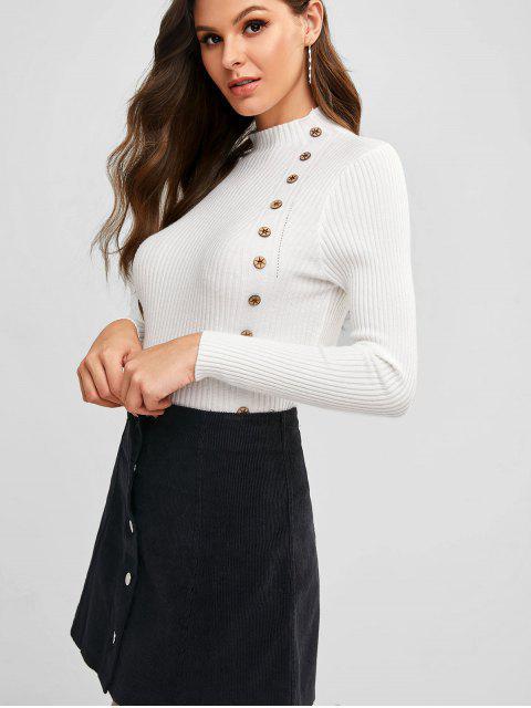 Abotonado Pullover Medio Cuello suéter delgado - Blanco Talla única Mobile