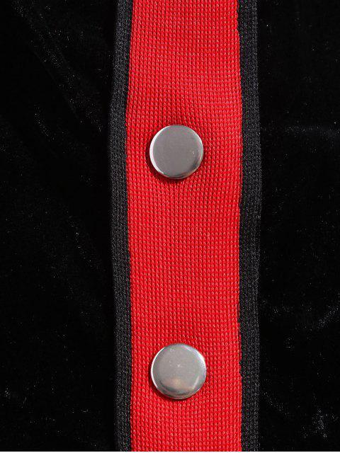 fashion Contrast Tape Snap Button Velvet Two Piece Dress - BLACK L Mobile