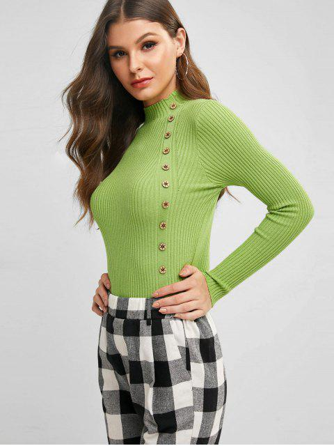 chic Buttoned Pullover Mock Neck Slim Sweater - GREEN PEAS ONE SIZE Mobile