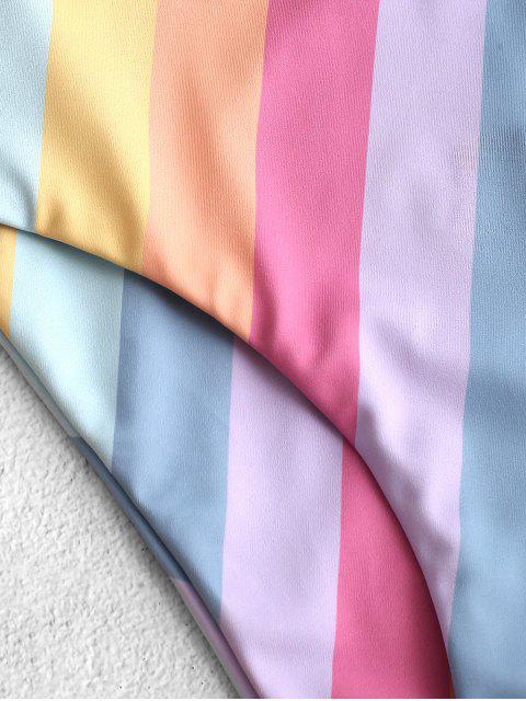 ZAFUL nudo rayado del arco iris de Tankini del traje de baño - Multicolor-A L Mobile