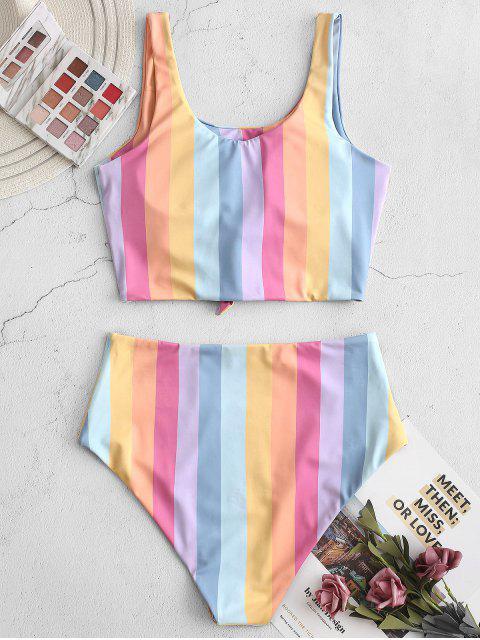 ZAFUL nudo rayado del arco iris de Tankini del traje de baño - Multicolor-A XL Mobile