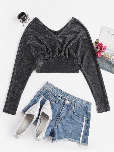 メタリックスレッドバットウィングVネッククロップTシャツ - ブラック ワンサイズ Mobile