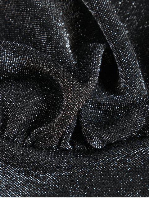 T-Shirt Court Métallique Chauve-souris à Col V - Noir Taille Unique Mobile