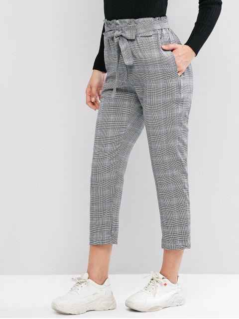 Pantalones de talle alto de la tela escocesa de bolsillo Paperbag lápiz - Gris M Mobile