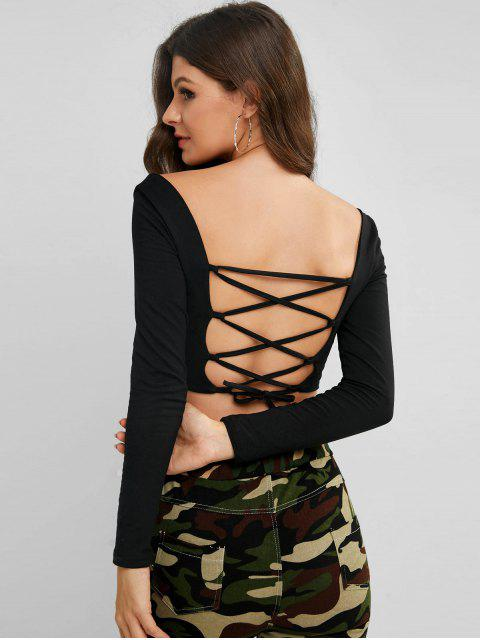 trendy Square Lace Up Back Cropped Tee - BLACK M Mobile