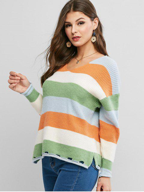 fancy Colorblock V Neck Slit Hollow Out Sweater - MULTI-A ONE SIZE Mobile