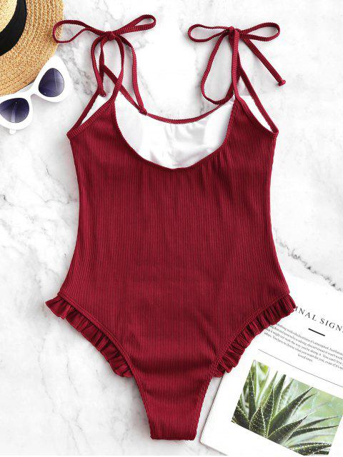hot ZAFUL Tie Frilled Ribbed One-piece Swimsuit - LAVA RED XL Mobile