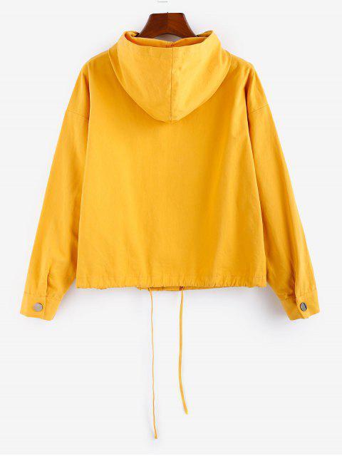ZAFUL Einfarbiger Jacke mit Druckknopf und Kordelzug - Goldgelb S Mobile