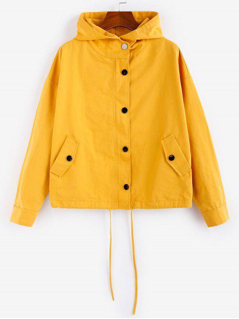 new ZAFUL Plain Snap Button Drawstring Hem Hooded Jacket - GOLDEN BROWN S Mobile