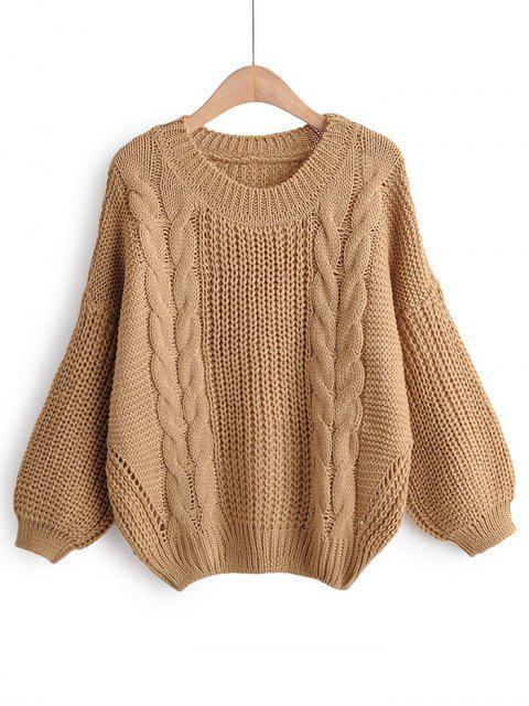 Hängender Schulter-Laterne-Hülsen-Klobiger Knit Pullover - Braun Eine Größe Mobile