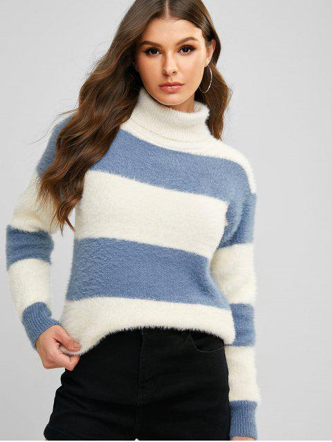 Rollkragen Farbblock Drop Schulter Fuzzy Pullover - Multi-A Eine Größe Mobile