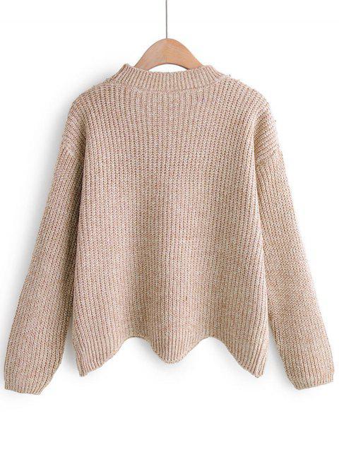 Perlen verschönert Chunky Knit Zick-Zack-Hem Sweater - Warmweiß Eine Größe Mobile