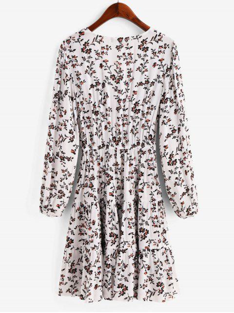 ZAFUL Robe Plongeante Fleurie Imprimée Ourlet à Volants - Blanc M Mobile