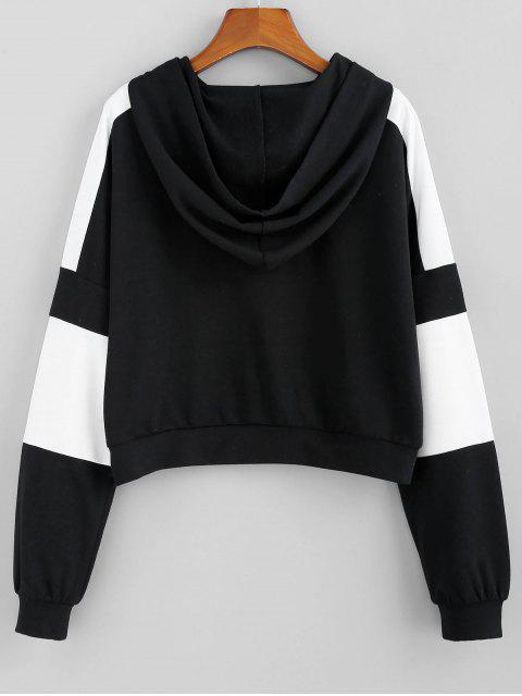 ZAFUL雙色插肩袖套頭衫帽衫 - 黑色 XL Mobile