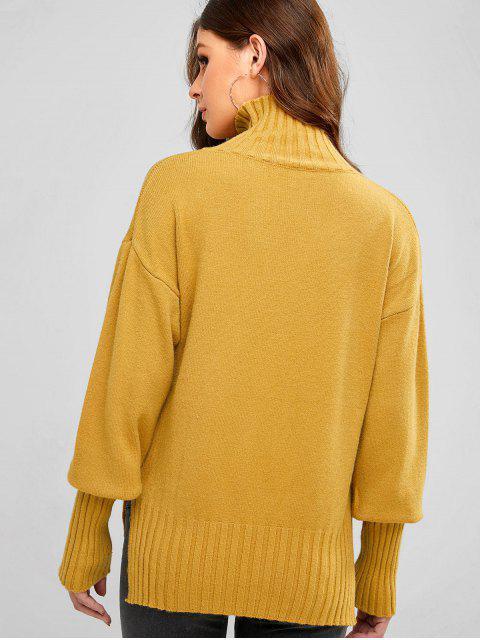 落肩領高低縫毛衣 - 橙金 One Size Mobile