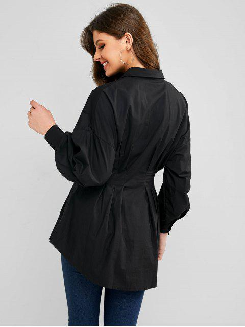 buy Ruched Waist Button Down Long Sleeve Shirt Dress - BLACK M Mobile