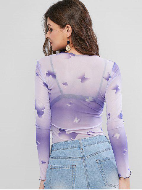 T-shirt Papillon Ombré en Maille à Ourlet en Laitue - Pourpre  S Mobile
