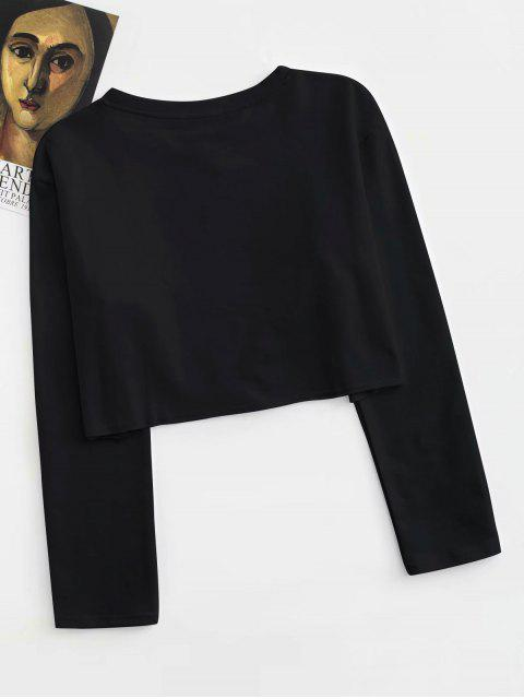 new CALL ME ANGEL Graphic Cropped Top - BLACK M Mobile