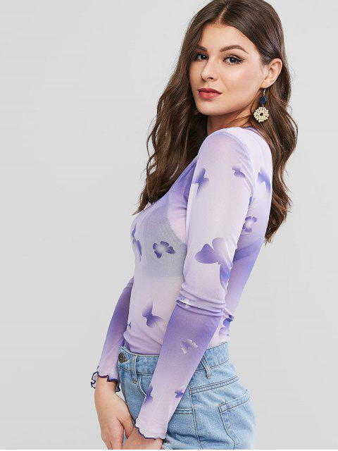 buy Lettuce Trim Butterfly Ombre Mesh Tee - PURPLE L Mobile