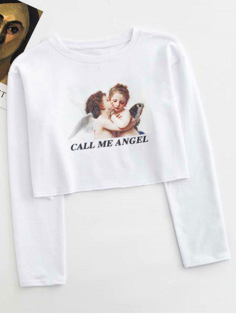 online CALL ME ANGEL Graphic Cropped Top - WHITE M Mobile