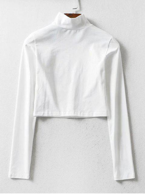 fancy Phoenix Graphic Mock Neck Cropped T Shirt - WHITE S Mobile