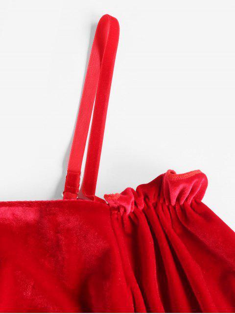 hot Drawstring Sleeve Cold Shoulder Velvet Top - RED S Mobile