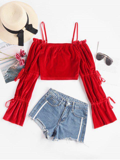 new Drawstring Sleeve Cold Shoulder Velvet Top - RED M Mobile