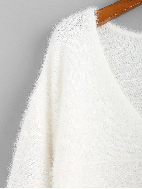 unique ZAFUL Fuzzy Knitted V Neck Drop Shoulder Sweater - MILK WHITE M Mobile