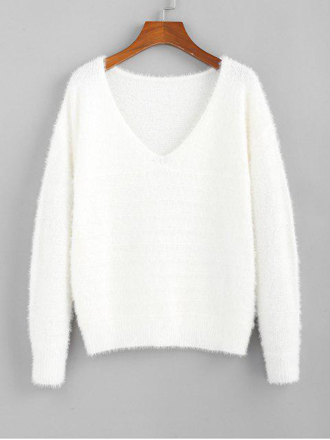 ladies ZAFUL Fuzzy Knitted V Neck Drop Shoulder Sweater - MILK WHITE S Mobile