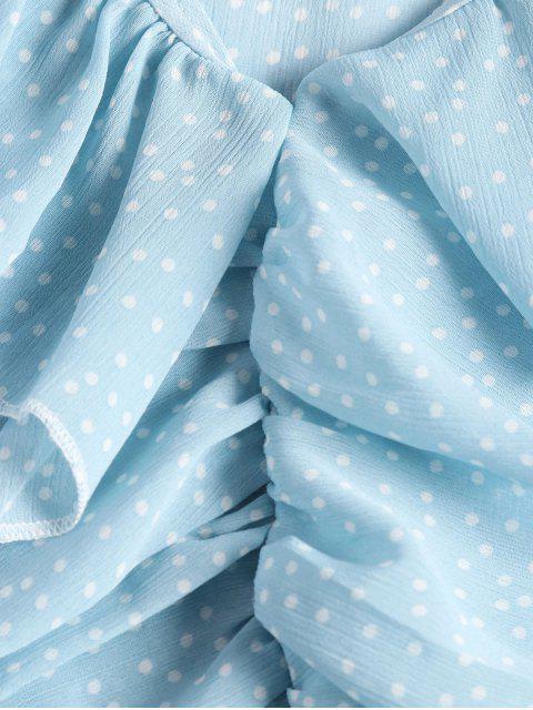 Blusa de Lunares con Mangas Cortas - Azul Talla única Mobile