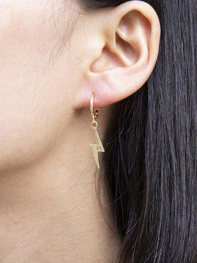 Lightning Huggie Drop Earrings - Gold