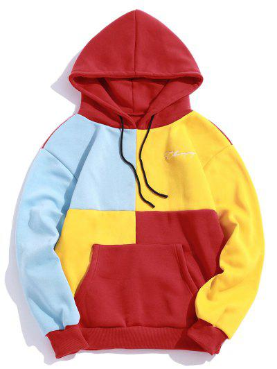Casual Color Spliced Pouch Pocket Hoodie - Red Xl