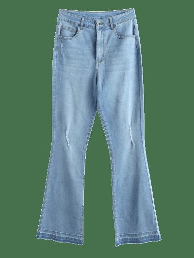 ZAFUL Ripped Frayed Hem Bootcut Jeans, Jeans blue