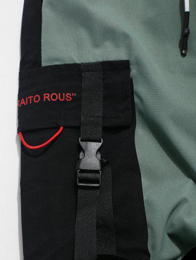 Color Block Spliced Buckle Ribbon Pocket Letter Print Jogger Pants, Black
