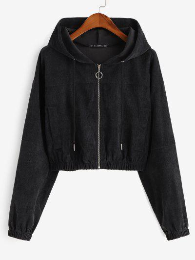 Faux Pockets Corduroy Crop Hooded Jacket - Black Xl