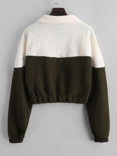 Two Tone Half Zip Teddy Sweatshirt, Green