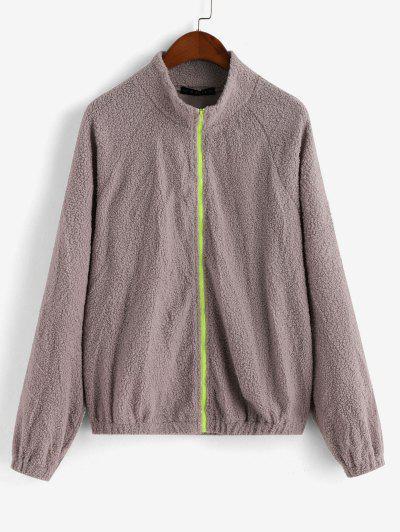 ZAFUL Zip Up Raglan Sleeve Faux Shearling Jacket - Gray Cloud M