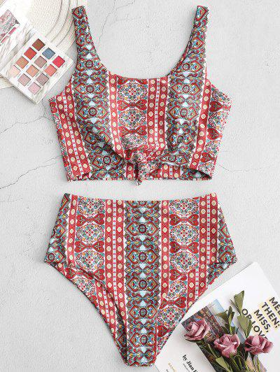 ZAFUL Knot Printed Bohemian Tankini Swimsuit - Light Coral Xl