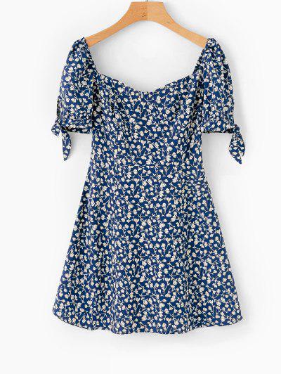 Floral Print Milkmaid Mini Dress - Deep Blue M