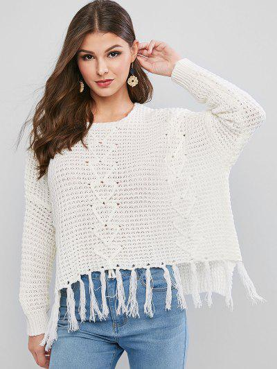 Tassels Loose Knit High Low Sweater - White